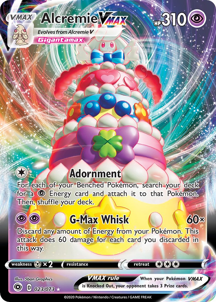 Alcremie VMAX from the 'Sword & Shield: Champion's Path' set!    Artwork by: 5ban Graphics  #PokemonTCG #PokemonCards #Pokemon