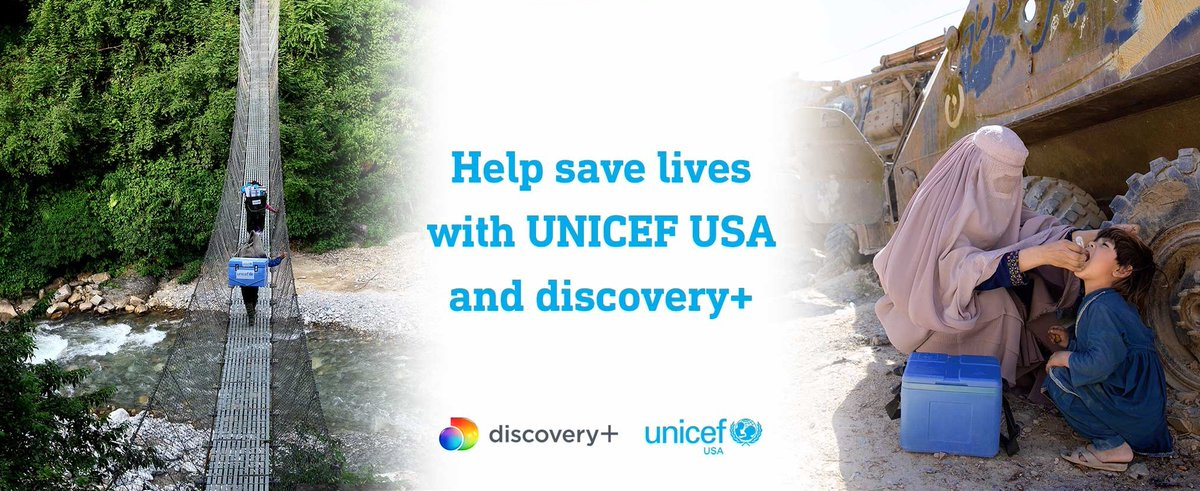 Even during the pandemic, UNICEF-supported vaccinators around the 🌎 do whatever it takes to reach communities, no matter how remote they may be. Now with this partnership, you can join us & @DiscoveryIncTV in helping us protect health workers as they protect vulnerable families.
