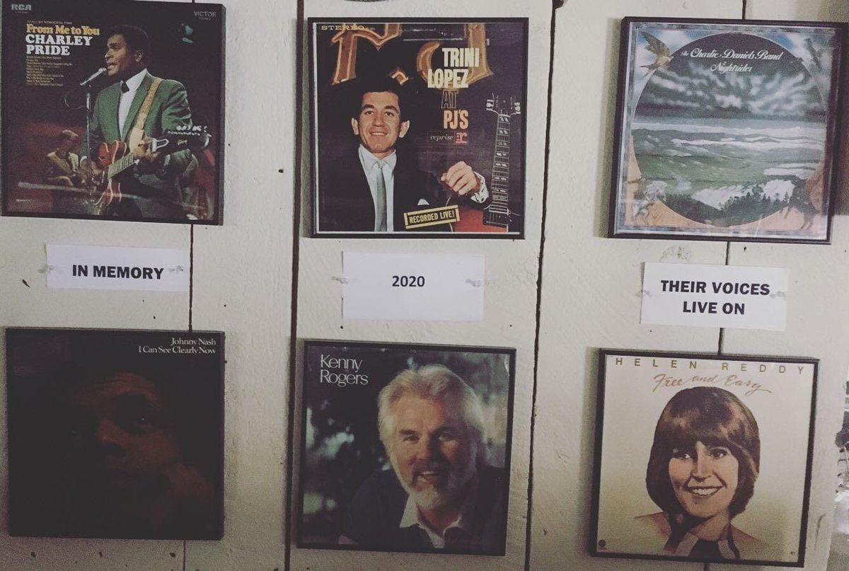 As we start 2021, we take time to remember those we lost in 2020. Our record wall currently is a tribute to some of those #charleypride #johnnynash #trinilopez #kennyrogers #charliedaniels #helenreddy https://t.co/iNxjI7pDhA