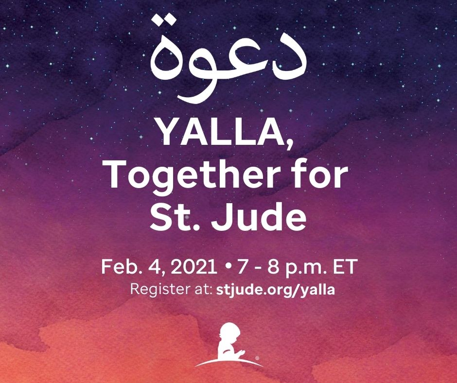 Join us on Feb. 4 for the Yalla, Together #forStJude virtual event to celebrate the heritage of St. Jude. The evening will be hosted by 12-time Emmy recipient @TamsenFadal, and includes performances by Arab American artists and supporters.  #yallaforstjude