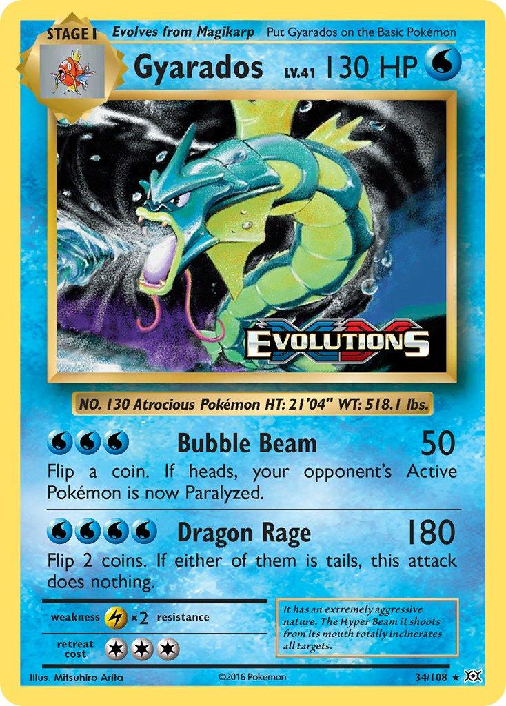 Gyarados from the 'XY: Evolutions' set!    Artwork by: Mitsuhiro Arita  #PokemonTCG #PokemonCards #Pokemon