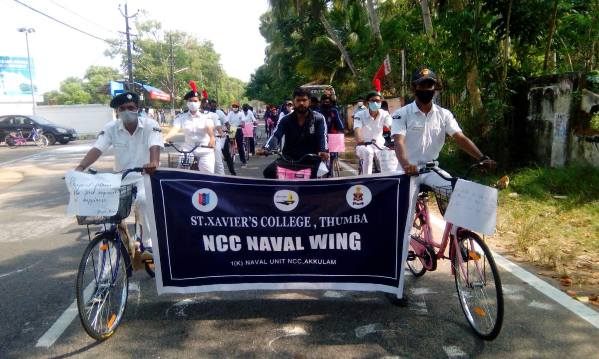 30 cadets of 1K NU #NCC from St. Xavier's college Thumba, undertook a 30 km cylothon for #FitIndiaMovement from Thumba to Kadinamkulam. Mr prakash P gopinath, (Bicycle mayor of Thiruvananthapuram) flagged off and participated in the event.