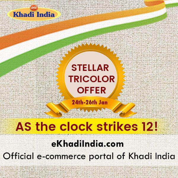 Something is on your way! Three exciting offers for Republic Day to be live at midnight! Watch out to know more! Shop authentic Khadi products on . India. #ekhadiindia #AatmanirbharBharat #vocalforlocal #sale #RepublicDayOffer @kvicindia