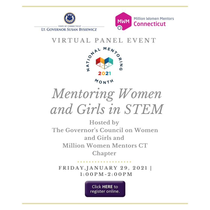 """The CT-Chapter of @MillionWMentors in partnership w/ the LT. Governor Susan Bysiewicz office's R co-hosting a panel event on #MentoringWomenGirls in #STEM - Jan 29th """"Thank Your Mentor Day"""". Please join them!  #MentoringAmplifies #InspireChange #WomenInSTEM"""