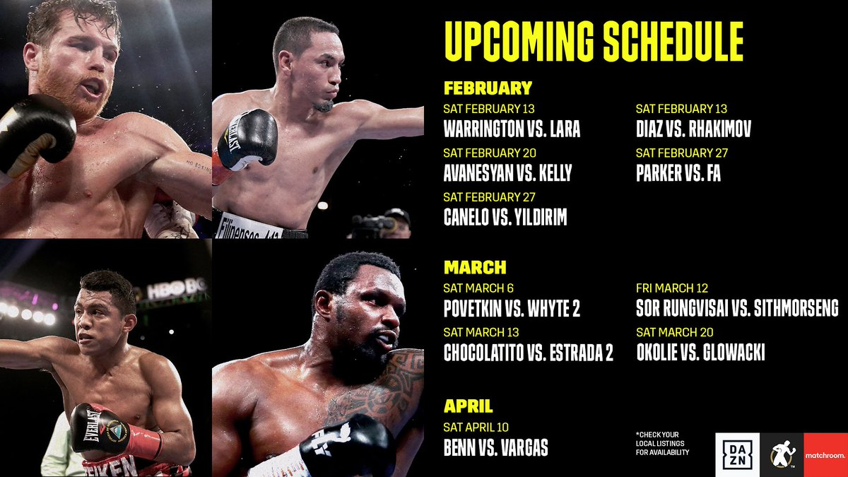 The current upcoming fight schedule. 🥊
