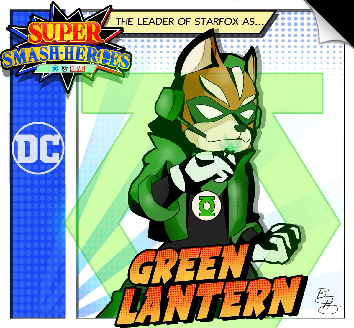 Here's my Super Smash Heroes series where I draw the all the Smash Fighters as Marvel and DC! Here's Fox as Green Lantern! #SmashBrosUltimate #SuperSmashBrosUltimate #Nintendo #SuperSmashBros #Marvel #Avengers  #DisneyPlus #starfox #dccomics #fanart #crossover #supersmashheroes