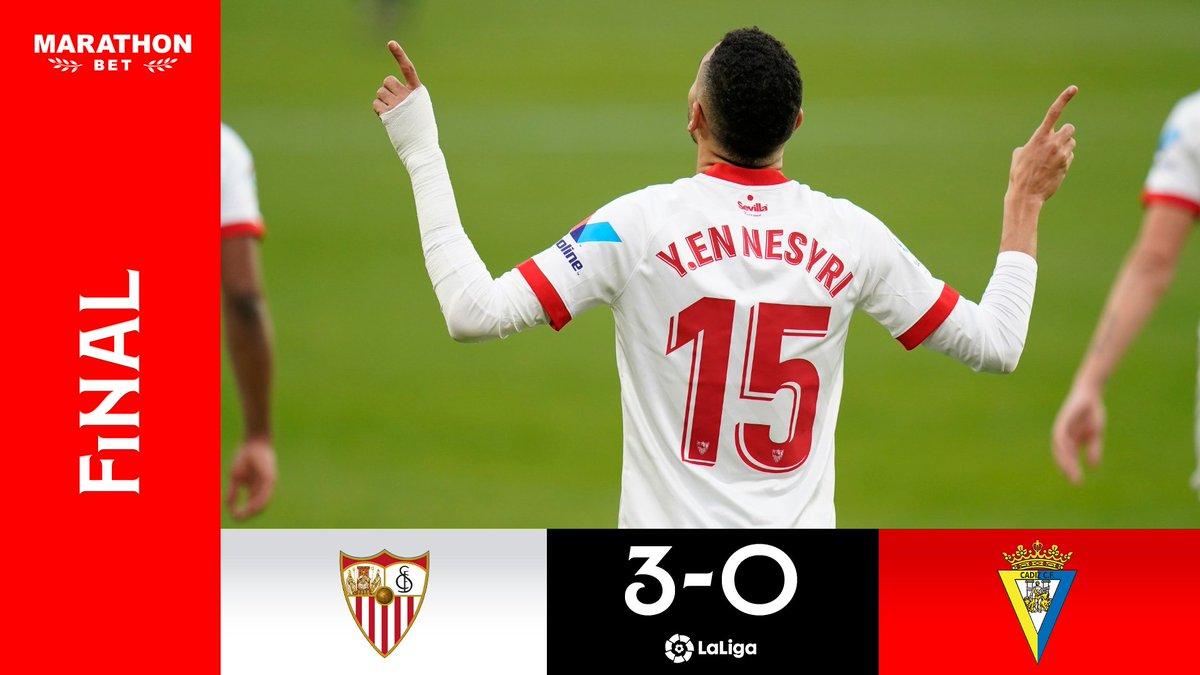 🚨 ¡Final en Nervión! 🚨   Contundente resultado en el Ramón Sánchez-Pizjuán. Buen partido de los nuestros ante el @Cadiz_CF.  ⚽️⚽️⚽️  💪🏼 Ahora, a centrarse en el partido de #CopaDelRey del miércoles. ¡Vamos, mi Sevilla! ⚪️🔴  #SevillaFCCádiz #WeareSevilla #NuncaTeRindas