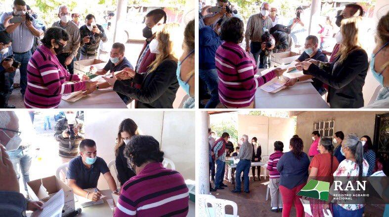 Continuando con la 𝐂𝐚𝐦𝐩𝐚𝐧̃𝐚 𝐍𝐚𝐜𝐢𝐨𝐧𝐚𝐥 𝐝𝐞 𝐄𝐧𝐭𝐫𝐞𝐠𝐚 𝐝𝐞 𝐃𝐨𝐜𝐮𝐦𝐞𝐧𝐭𝐨𝐬 𝐀𝐠𝐫𝐚𝐫𝐢𝐨𝐬 estuvimos presentes en el ejido #Álamo de los Montoya, municipio de Salvador Alvarado, estado #Sinaloa,  para la entrega de 65 titulos de propiedad.  #ElRANCercaDeTi