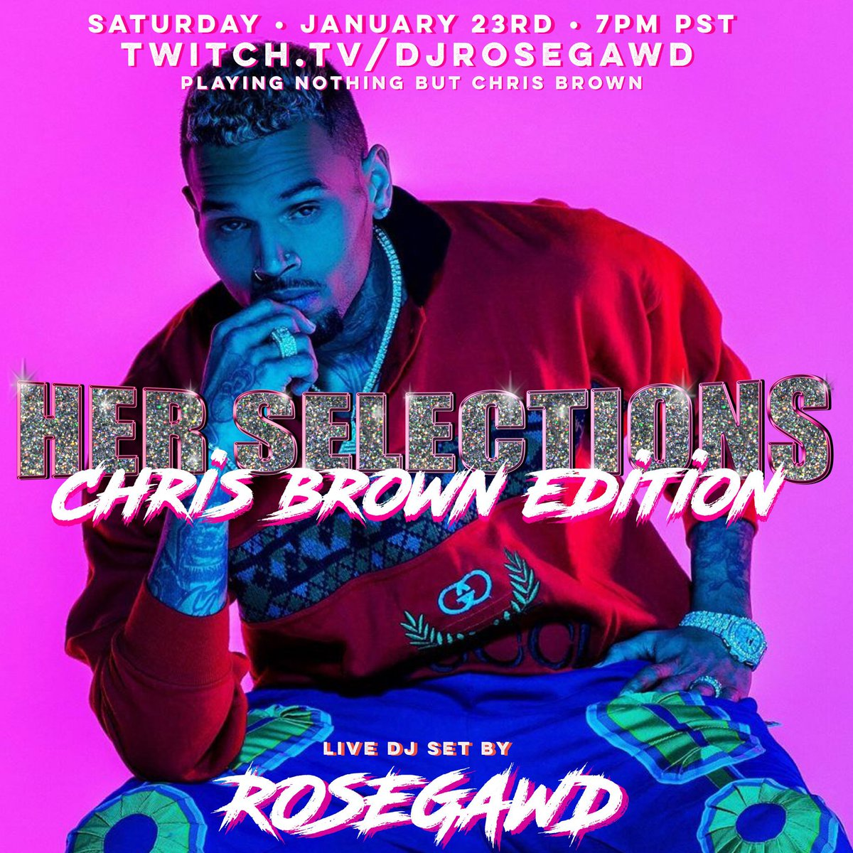 🌹 TONIGHT 1/23 7pm PST 🌹   @chrisbrown! Come spend a couple hours listening to nothing but Chris brown with over a decade of hits tune in! #teambreezy  Where:  (follow to get a reminder notification when it starts)