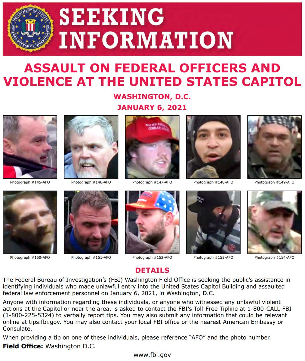 #FBIWFO is seeking the public's assistance in identifying individuals who made unlawful entry into the US Capitol & assaulted law enforcement on January 6th. If you have info, call 1800CALLFBI or submit to tips.fbi.gov. fbi.gov/wanted/seeking…
