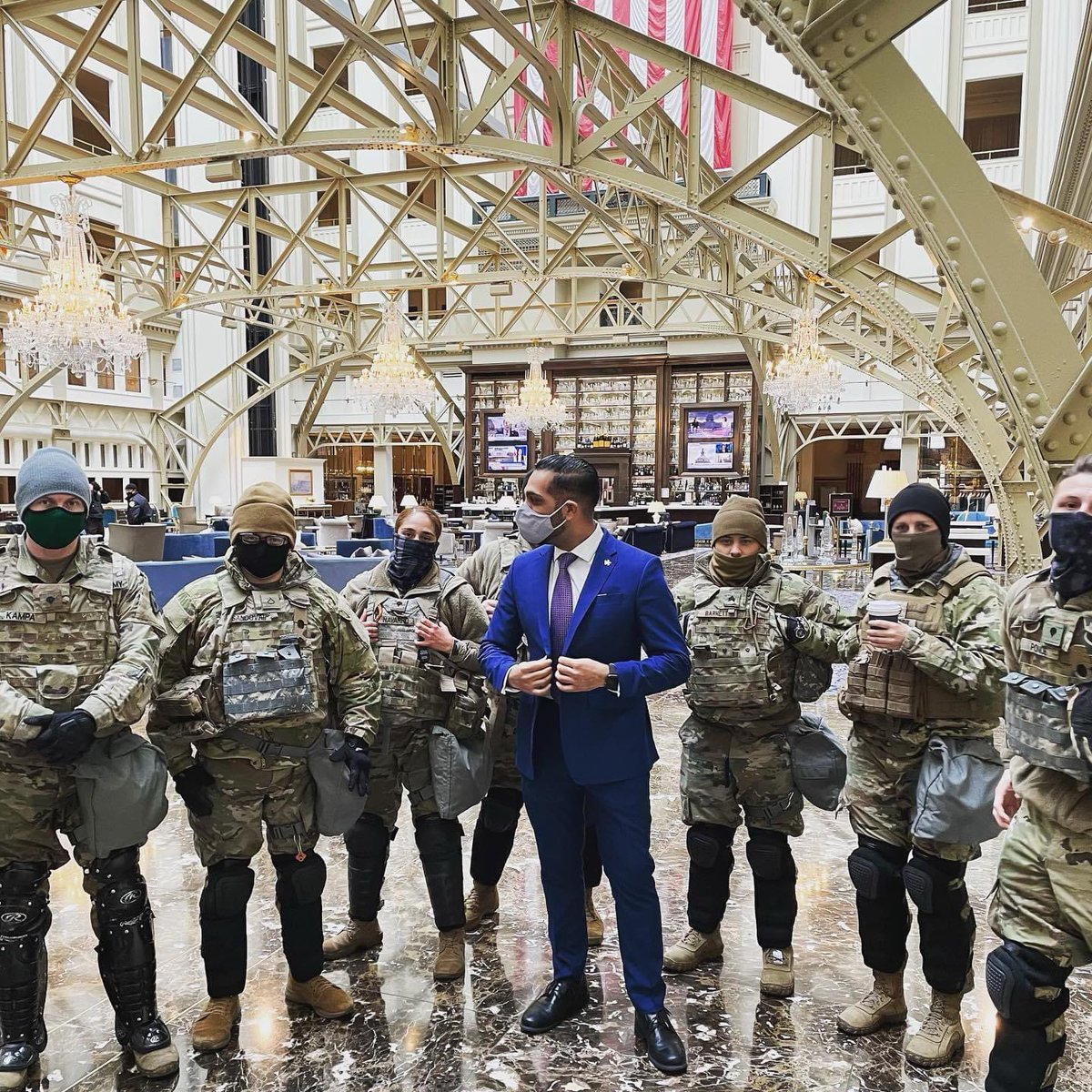 Our Director of Attache taking care of our great @NationalGuard men and women...THANK YOU again for all your support this week...You are the BEST!!!#trump #luxuryhotels #NationalGuard #VIP #InaugurationWeek #neversettle #WashingtonDC #Thankful #USA