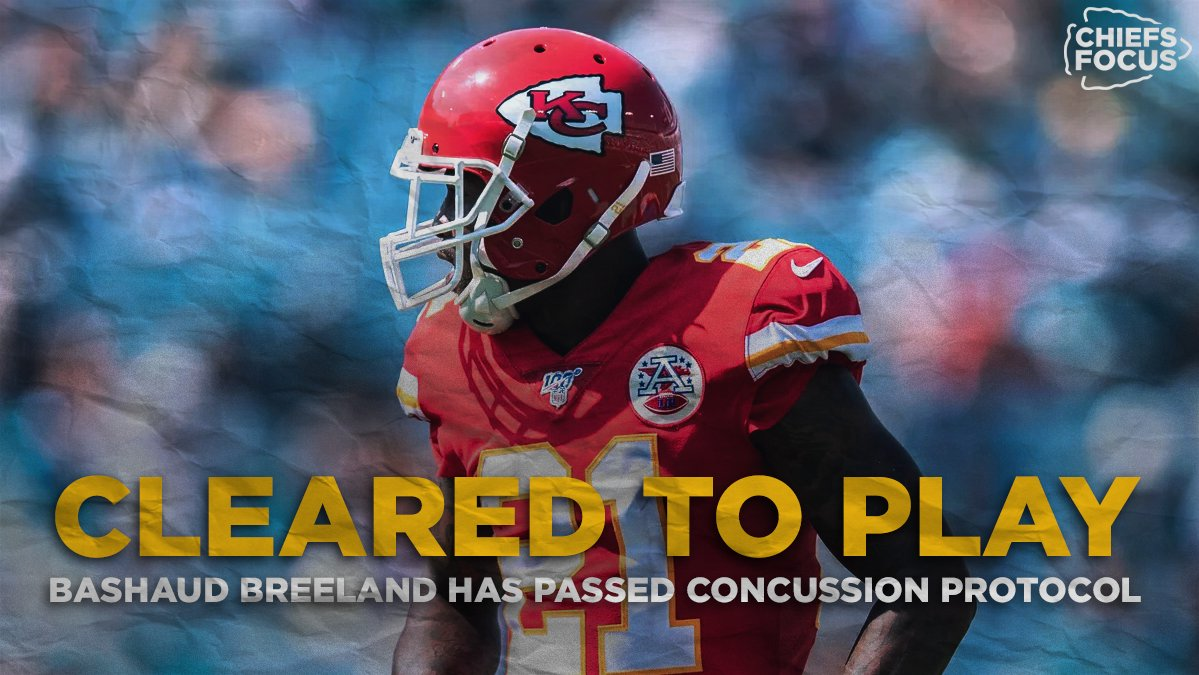 𝗕𝗿𝗲𝗮𝗸𝗶𝗻𝗴:  Bashaud Breeland has cleared concussion protocol and will start at cornerback in the AFC Championship tomorrow.  The defense gets major help in covering Stefon Diggs and company.