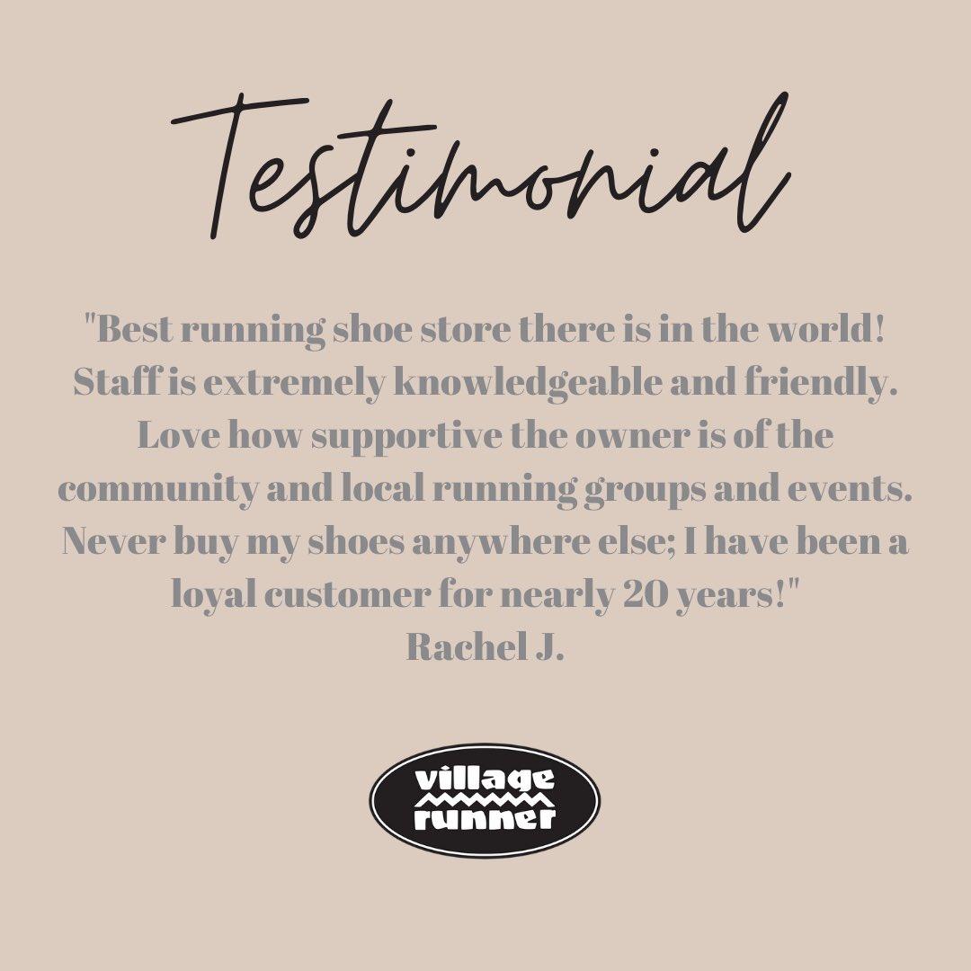 Thank you, Rachel! We are so very appreciative of our long-standing customers who have become family. #ittakesavillage #VillageRunner #redondobeach #runredondo #manhattanbeach #runmanhattan #southbay #runningstore #runningexperts #walkingexperts #takeourknowledgeandrunwithit