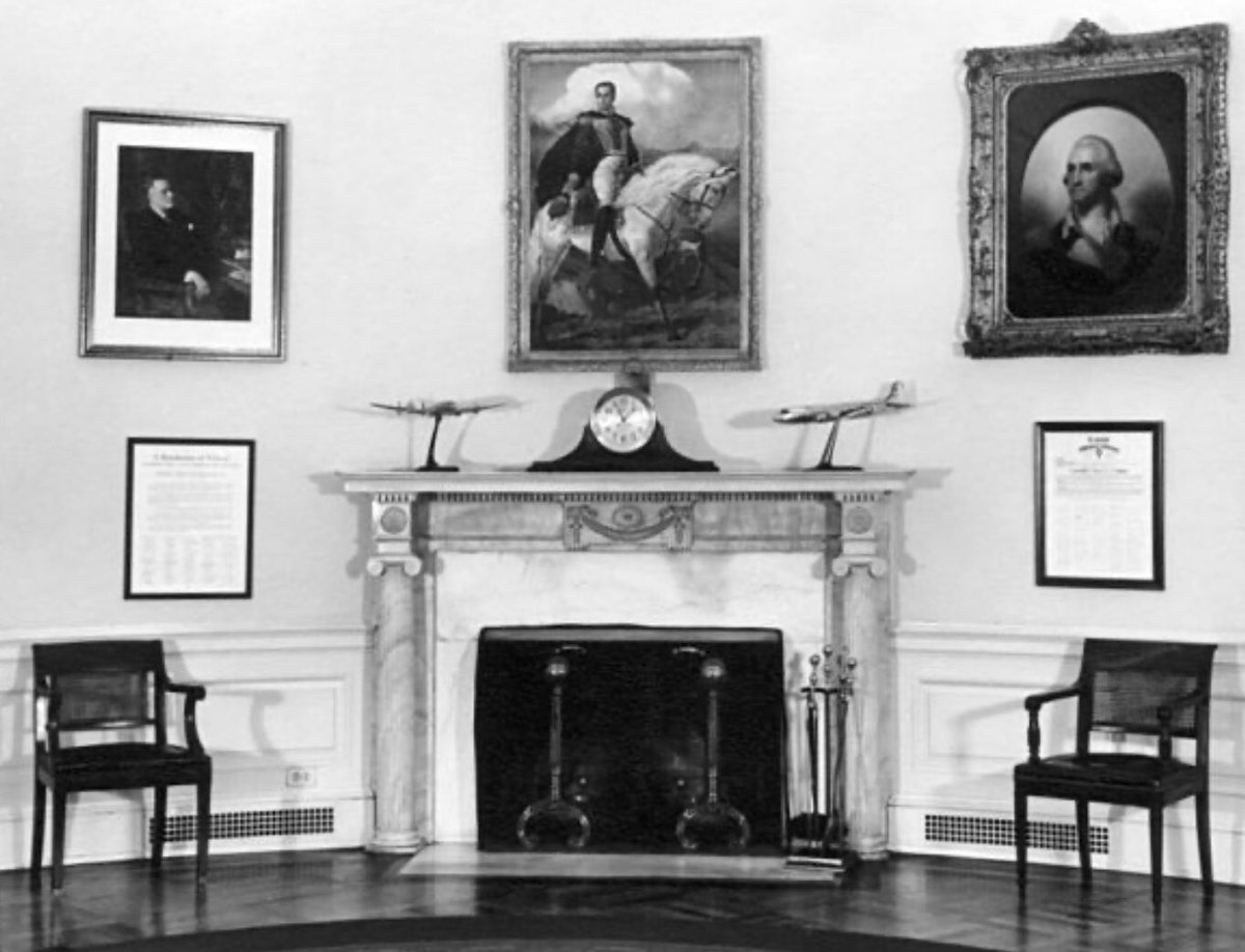 In 1945 Oval Office, Truman favored FDR, Simon Bolivar, George Washington and airplane models: