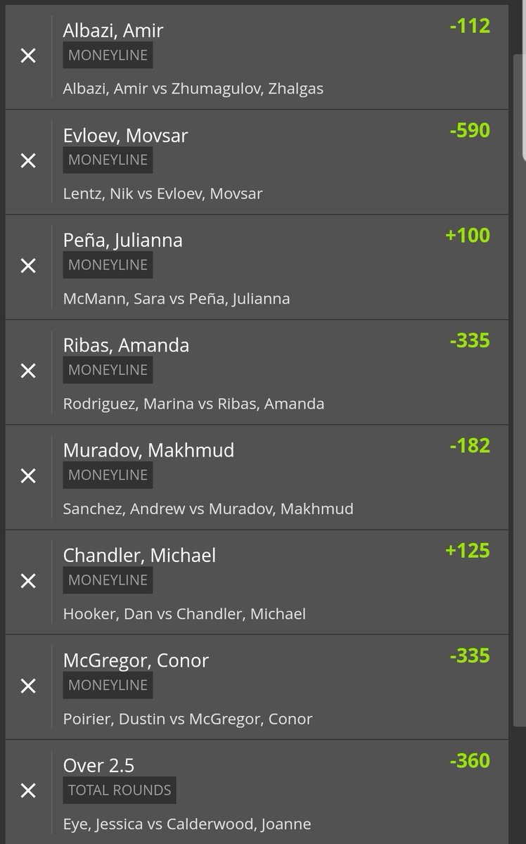 #UFC257 Picks 👊💪  I have 5 total plays made up.. odds ranging from  -101 to +190.  All parlays ending on McGregor ML.  I do not advise parlaying them all together.   Lets have ourselves a night #GamblingTwitter   Follow to #EngineerYourEdge