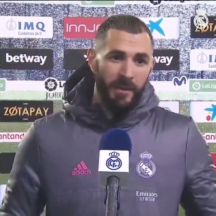 """💪💬 @Benzema: """"Hicimos un buen partido y nos viene bien para la confianza"""" #HalaMadrid"""