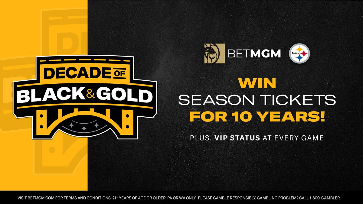 Want to win a DECADE of season tickets to #Steelers games? Sign up now and enter the @BetMGM Decade of Black and Gold promotion for your chance!  Register now:
