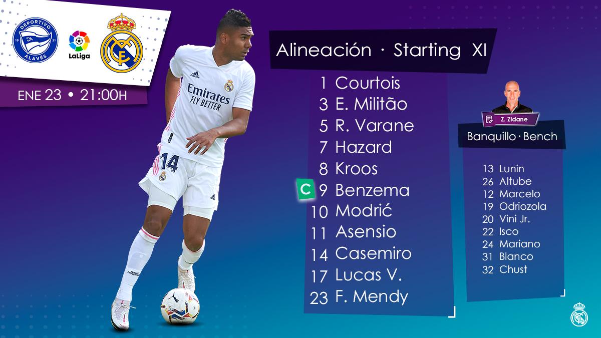 📋✅ Our starting XI 🆚 @aleveseng! #HalaMadrid |  #AlavésRealMadrid