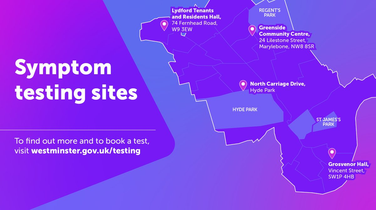Westminster's walk-through testing centres are open seven days a week, from 8am to 8pm at: • Greenside Community Centre  • Lydford Tenants and Residents Hall  • Grosvenor Hall   Book an appointment by calling NHS 119.  Visit:   #LetsGetTested