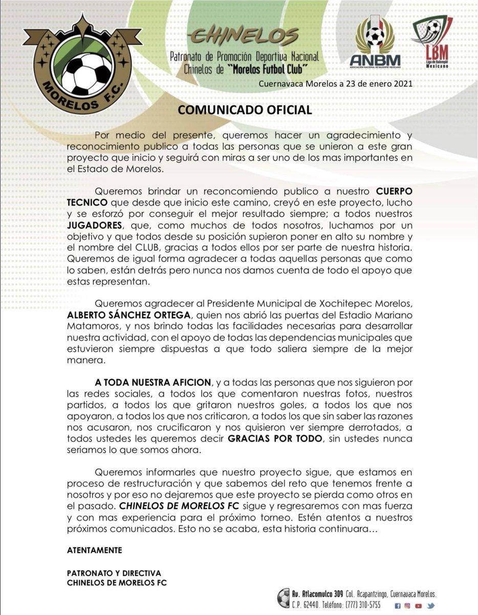 🚨 A TODA NUESTRA AFICIÓN 🚨  El Patronato y Directiva de  CHINELOS DE MORELOS FC  hace este comunicado...  #SomosChinelos #OrgulloMorelense #SomosMorelenses #SomosFutbol