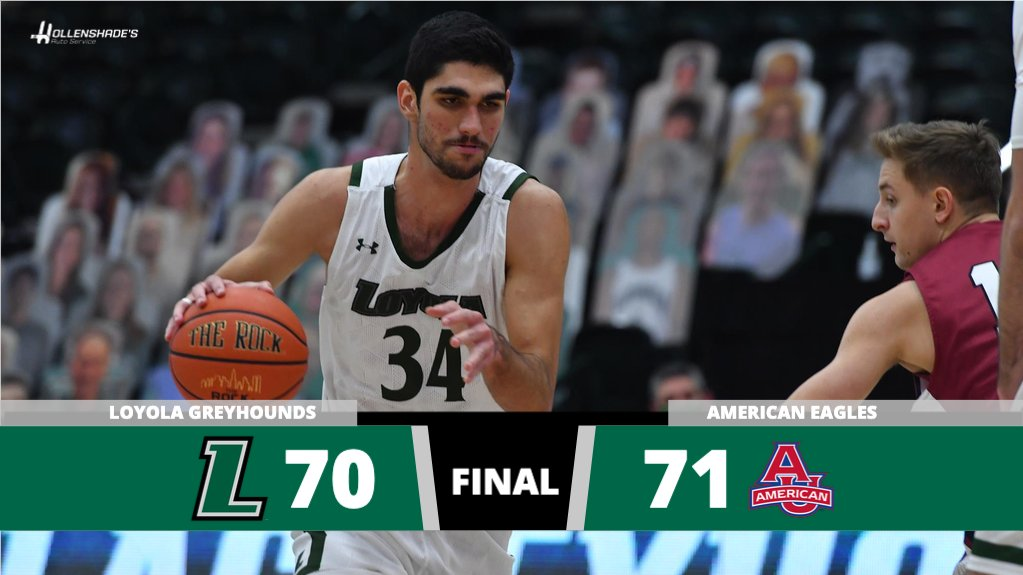 Final: American 71, @LoyolaHounds 70. Aldama and Johnson finished with career highs of 25 and 10 points, respectively. Aldama has his 3rd career double-double w/ 10 boards. Greyhounds host American Sunday at 6 p.m. on @PatriotLeagueTV.  Final presented by @hollenshades #gohounds https://t.co/lD7uFjy9Ti