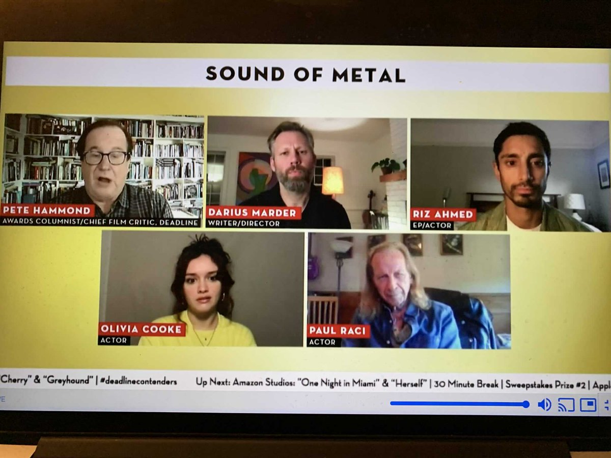 Oscars Season: Deadline Contenders: Riz Ahmed said director Darius Marder threw down the gauntlet in #SoundofMetal . Ahmed said they both wanted to jump into the deep, not be sure if they would get it right but get something out of it b/c it was such an intense experience. #film
