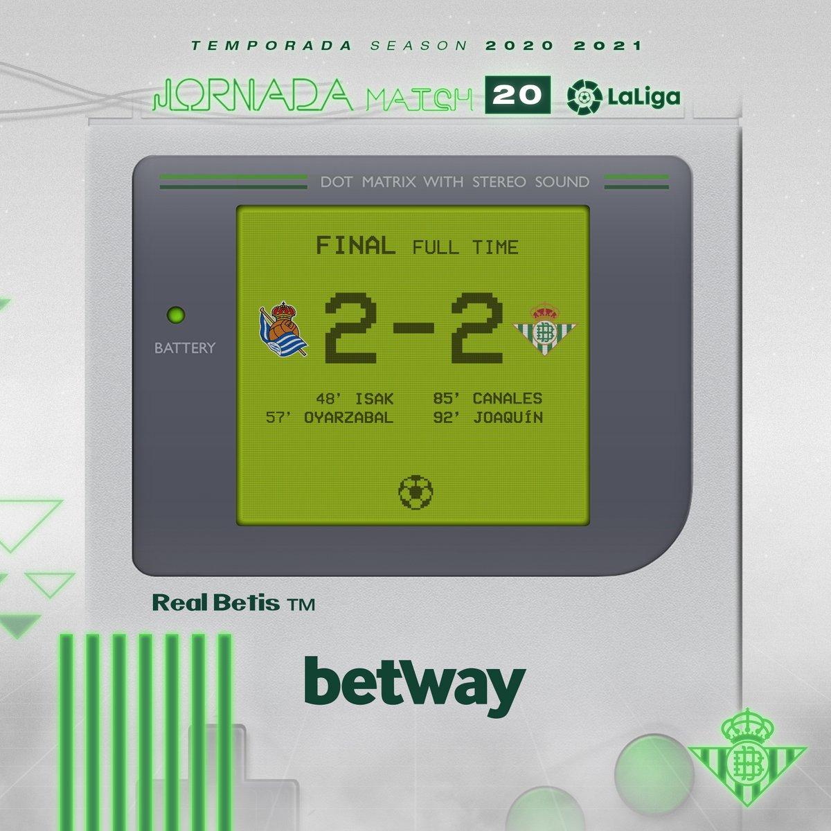 95' ⏱⚽️ ¡Final del partido!  🔵⚪ #RealSociedadRealBetis 2-2 💚⚪  #DíaDeBetis