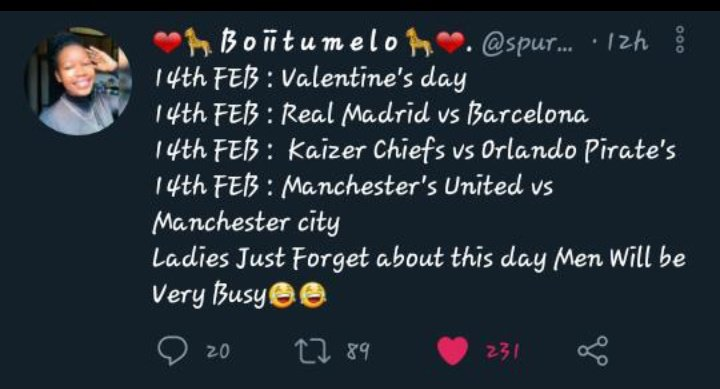 Yes it will be very busy😂❤well I'm a footballer lover💀if I had a bf I would jst call him to watch match with me that day😍❣🤗