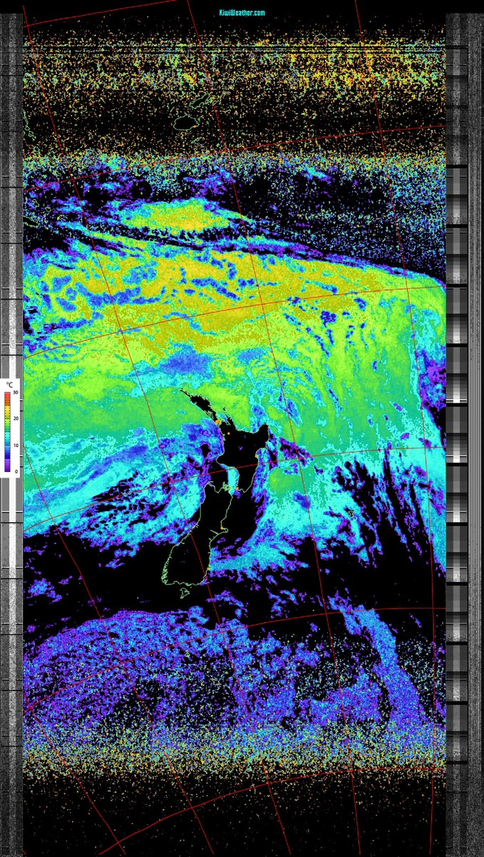 Sea temperature map captured by the NOAA 15 weather satellite pass over Auckland, New Zealand, captured on Sun 24 Jan 2021 08:02:49 (see more at ). (Click on image to see detail) #weather #Auckland #NewZealand