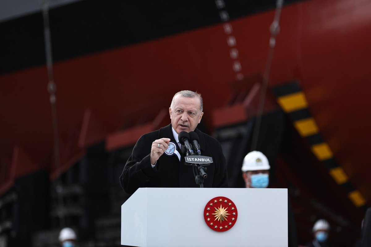President @RTErdogan made a speech at a ceremony in Istanbul held for the launching of the Frigate Istanbul (F-515), the fifth ship of MILGEM Project, and for the first welding of Pakistan MILGEM Corvette Project's third ship.