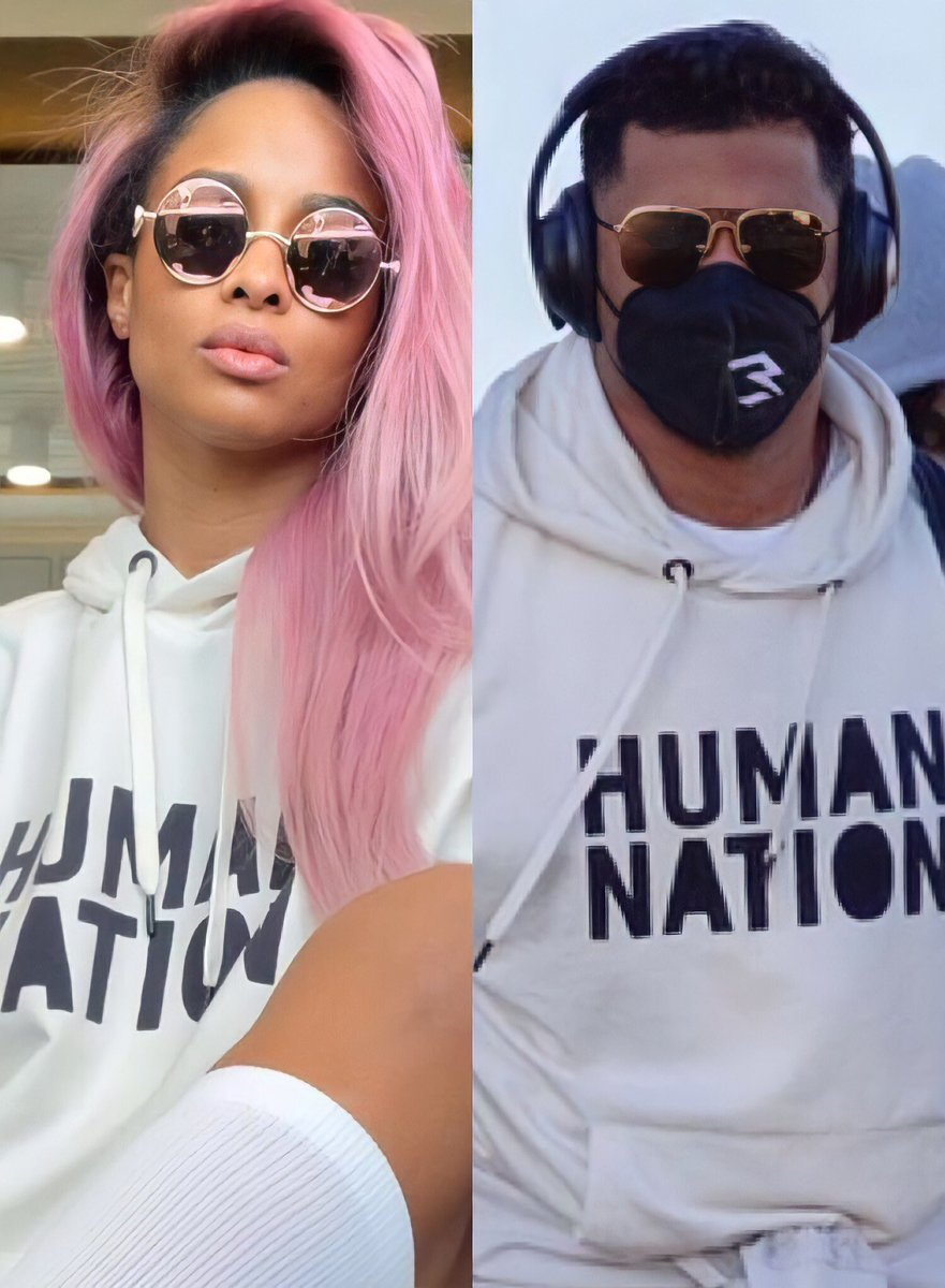 The undefeatable, power, ultimate lovers, successful, & good looking couple @ciara & @DangeRussWilson rocking their own @AllHumanNation merch 👑👑