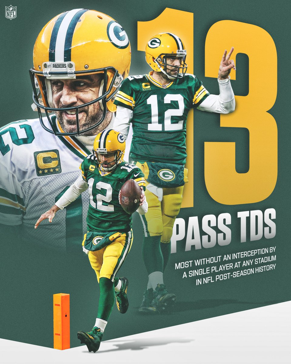 1️⃣3️⃣ TD passes for No. 1️⃣2️⃣ since his last interception in a playoff game at Lambeau Field.  @AaronRodgers12 has been on a roll!