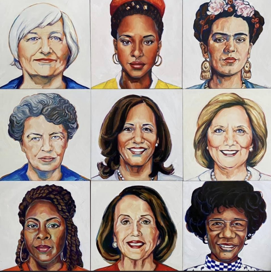 I'm very honored to be one of the women painted as part the Sheroe's series by artist TY Duryea. ❤️ I love this. These are some of my favorite women leaders. #AmandaGorman #Kamala #Frida #Hillary #Elenor #Shirley #Nancy #LaTosha @BlackVotersMtr