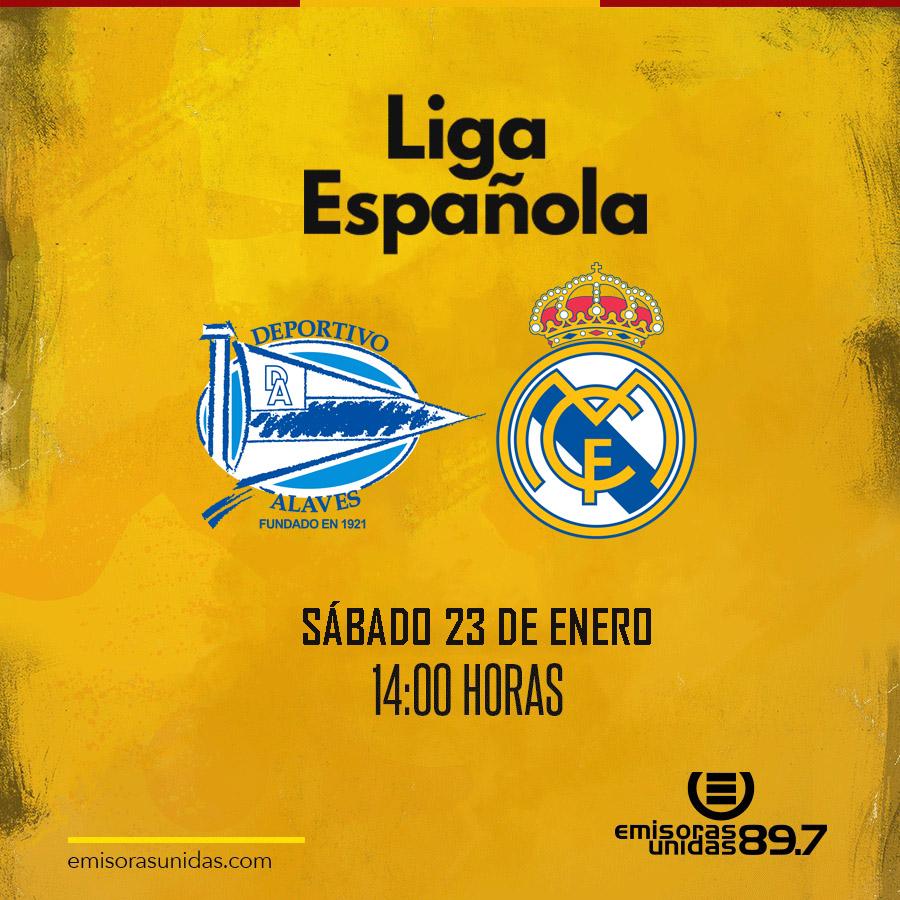 #LaLiga | ¡Hoy! Alavés 🔵⚪ y Real Madrid ⚪⚪ se enfrentan por la jornada 20 de La Liga.  El partido arranca a las 14:00 horas