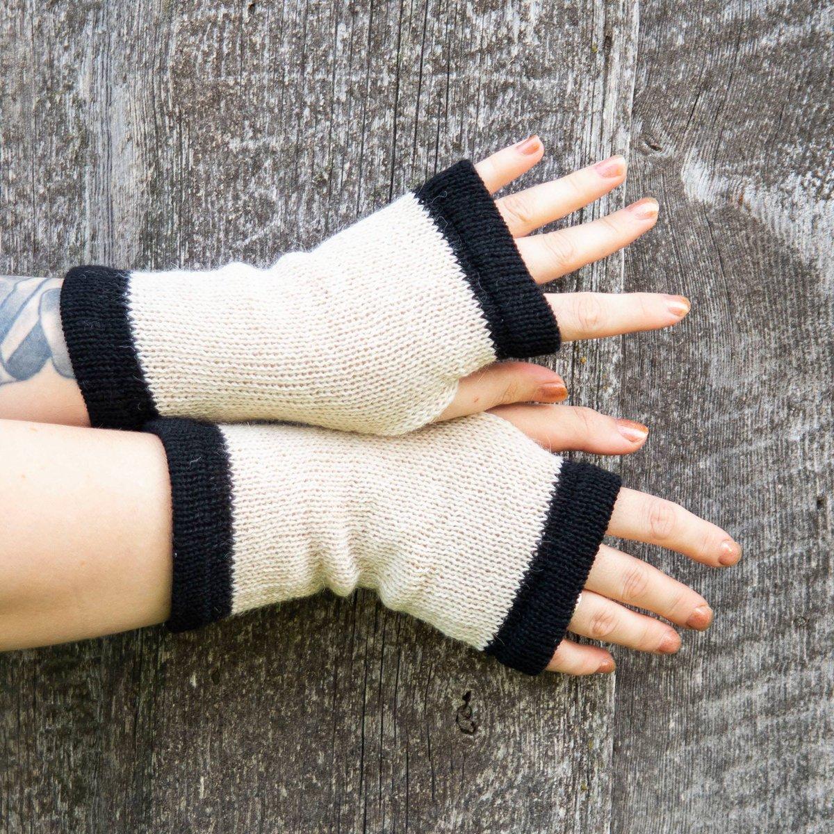 #Sale! 20% OFF! #Fingerless #knit #Gloves #soft #wool  #mittens #Wrist #warmers #merino #alpaca wool #beige #black #handmade #mitts #GiftForHer  @Etsy