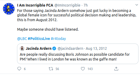 @wadhams_sam @guardian @bbclaurak @BBCBreaking @itvnews @Telegraph @thetimes we got the gaffe man... #BorisJohnson #coronavirus #covid19 #lockdown  meanwhile  #jacindaardern #NewZealand  be easier to move to her country than wait for Boris to dither...