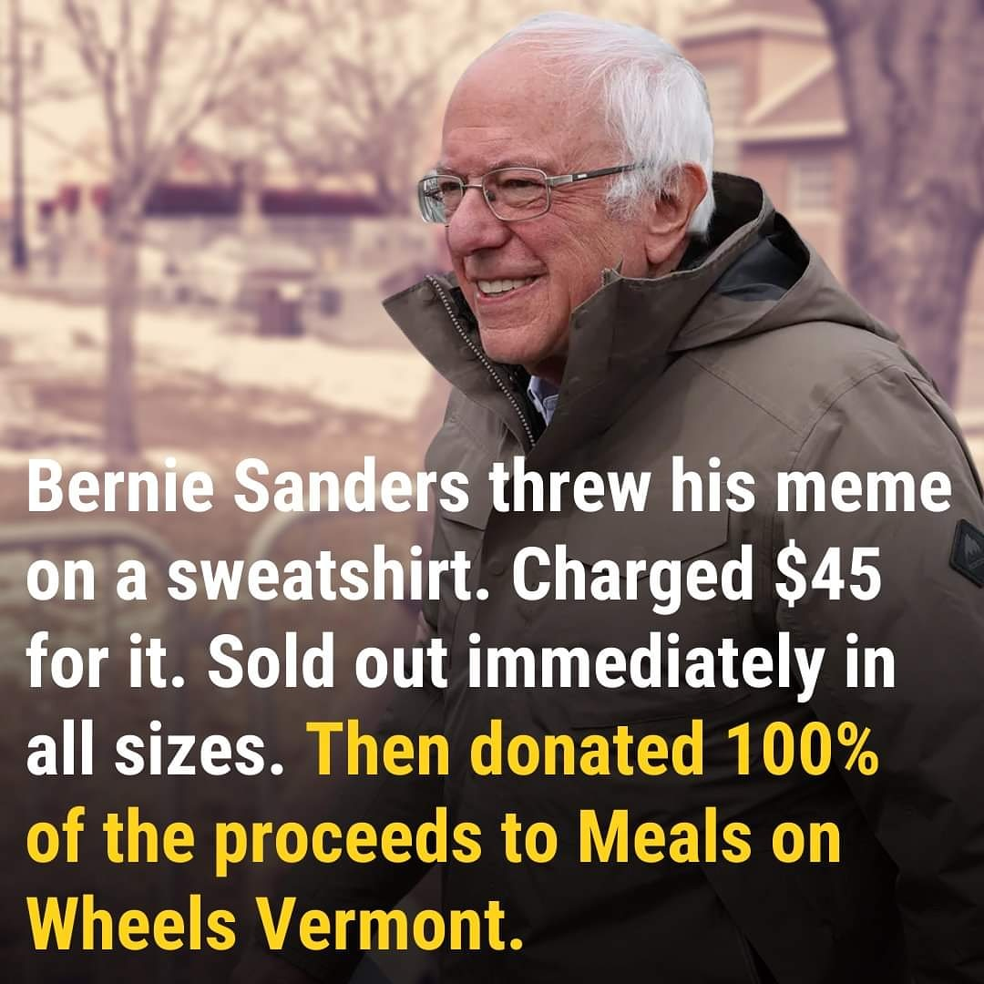 😊🧤💜 Such a Bernie thing to do! 🤓🔥✊ #NotMeUs #BernieSanders #ChairmanSanders #Progressives #SaturdayVibes #BernieMittens #berniememes