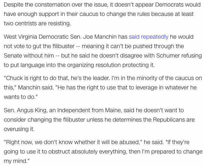 @MichaelJStern1 @WillieSam15 @Sen_JoeManchin @kyrstensinema @SenSchumer What about independent Angus King?  I read he is also holding up. From yesterday: https://t.co/Egn6twubiB
