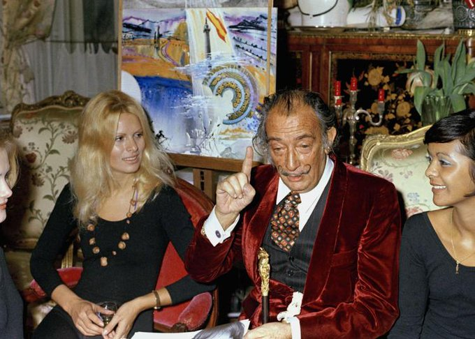 Salvador Dalí at the Meurice Hotel in Paris, France on this date January 26 in 1970. Photo by Bernard Ferret. #OTD