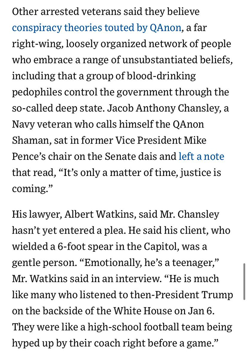 One veteran — Jacob Anthony Chansley who calls himself the QAnon Shaman —  was holding a 6-foot spear. His lawyer told @wsj that his 33-year-old client was a gen­tle per­son with the emotional range of a teenager. https://t.co/ZxS7XcbwVa https://t.co/kXEKM0V6Hk