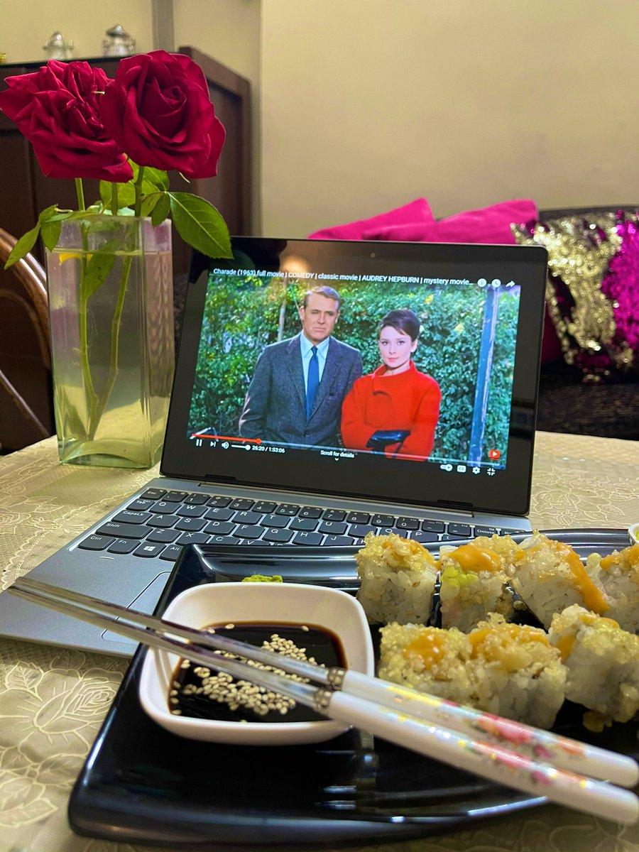 Audrey Hepburn + Sushi = Saturday night goodness #Charade #SaturdayVibes