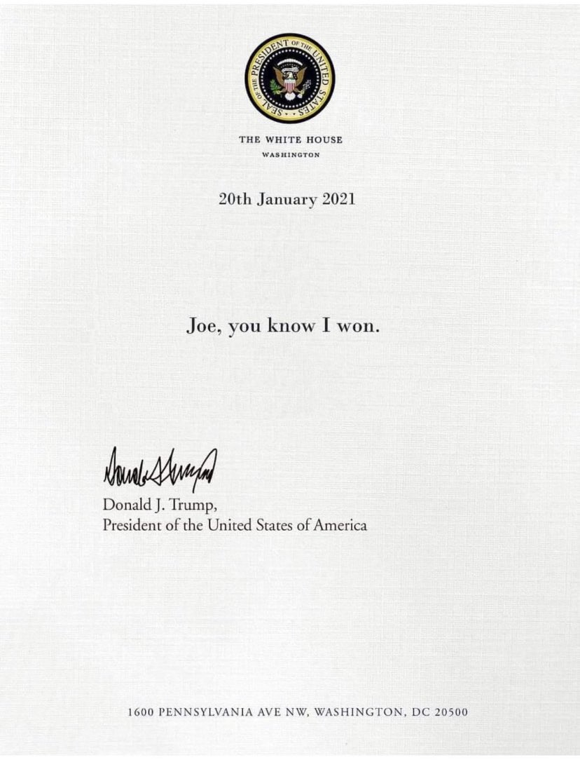And now the letter from Trump to Biden!!!🤣🤣🤣🤣  #Biden #Trump #TrumpsLetterToBiden #TrumpIsALaughingStock