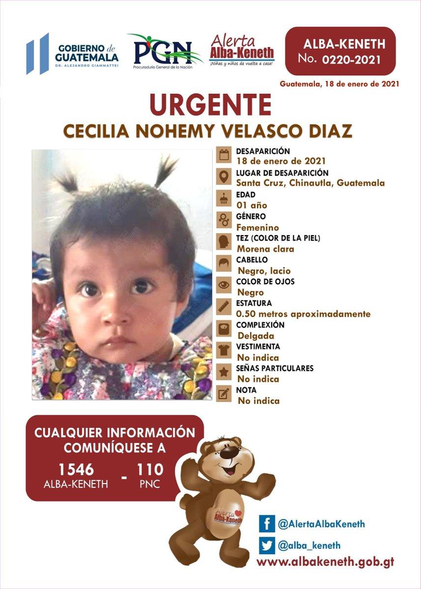 #AlertaAlbaKeneth ⚠ | CECILIA NOHEMY VELASCO DIAZ, de 01 año de edad. Desapareció el 18 de Enero de 2021, en Santa Cruz, Chinautla, Guatemala.  🔄Comparte y ayúdanos con su localización 📞Si tienes información llama al 1546