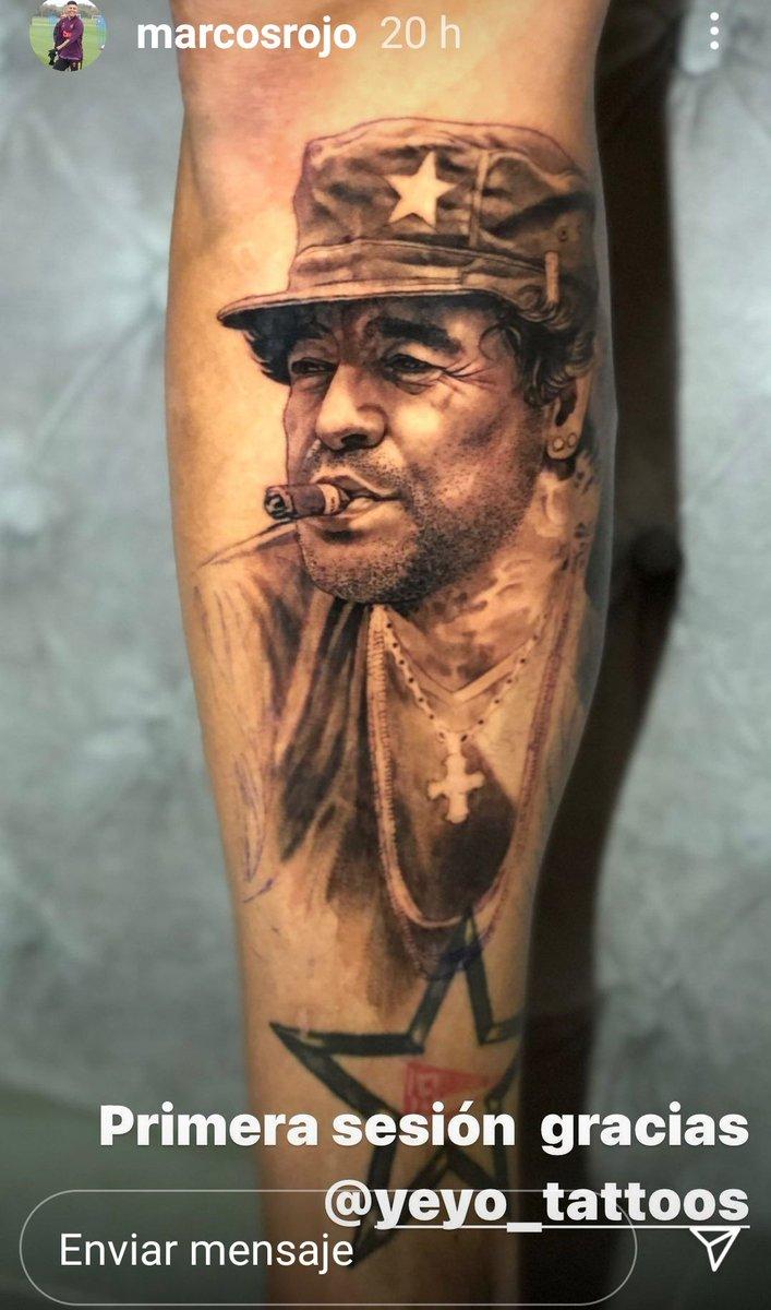 EL TATOO DEL DIEGO  #MarcosRojo en Instagram colgó la foto del tatuaje que se hizo con la imagen de #Maradona en el palco de la Bombonera!.  El Diego sigue para siempre!  #maradonaeterno  ¿Fichará con #BocaJuniors?.