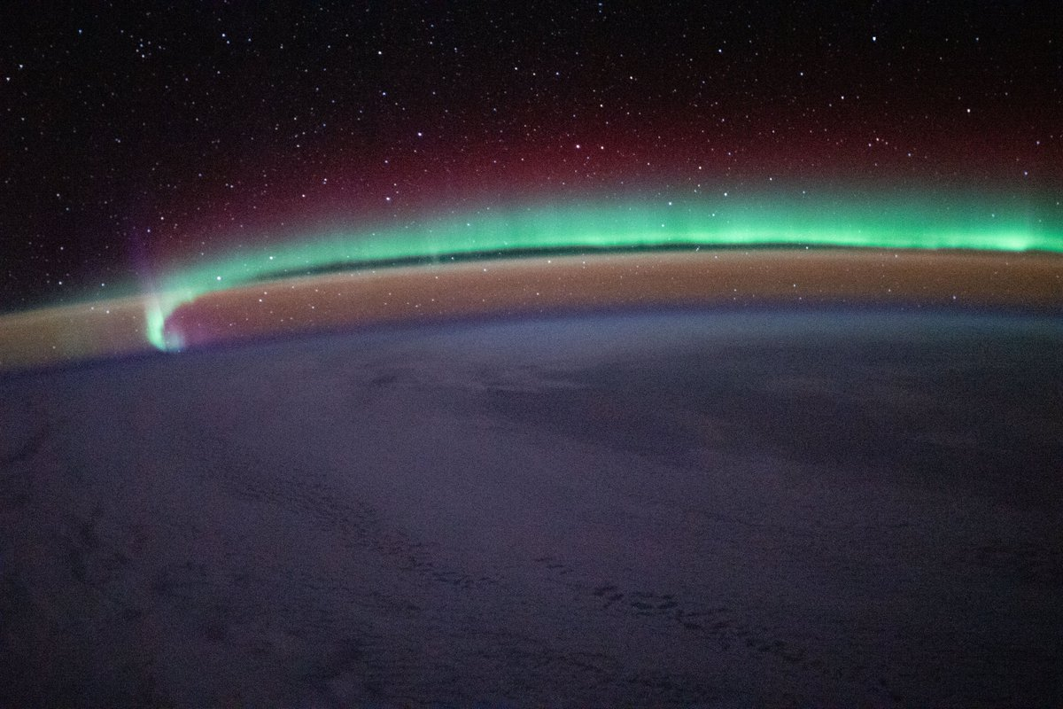 The station's orbit takes it as high 51.6° above the equator offering awe-inspiring views of the Earth's aurora in between the city lights and the twinkling stars.