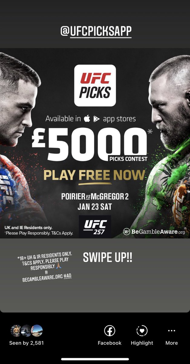 The New @ufcpicksapp is 🔥. Play the Free £5,000 UFC Pick'em contest. Download UFC Picks app Today  #UFC #UFC257 #UFCPicks  *18+ UK & IE residents only. T&Cs Apply. Please Play Responsibly.  #Ad*