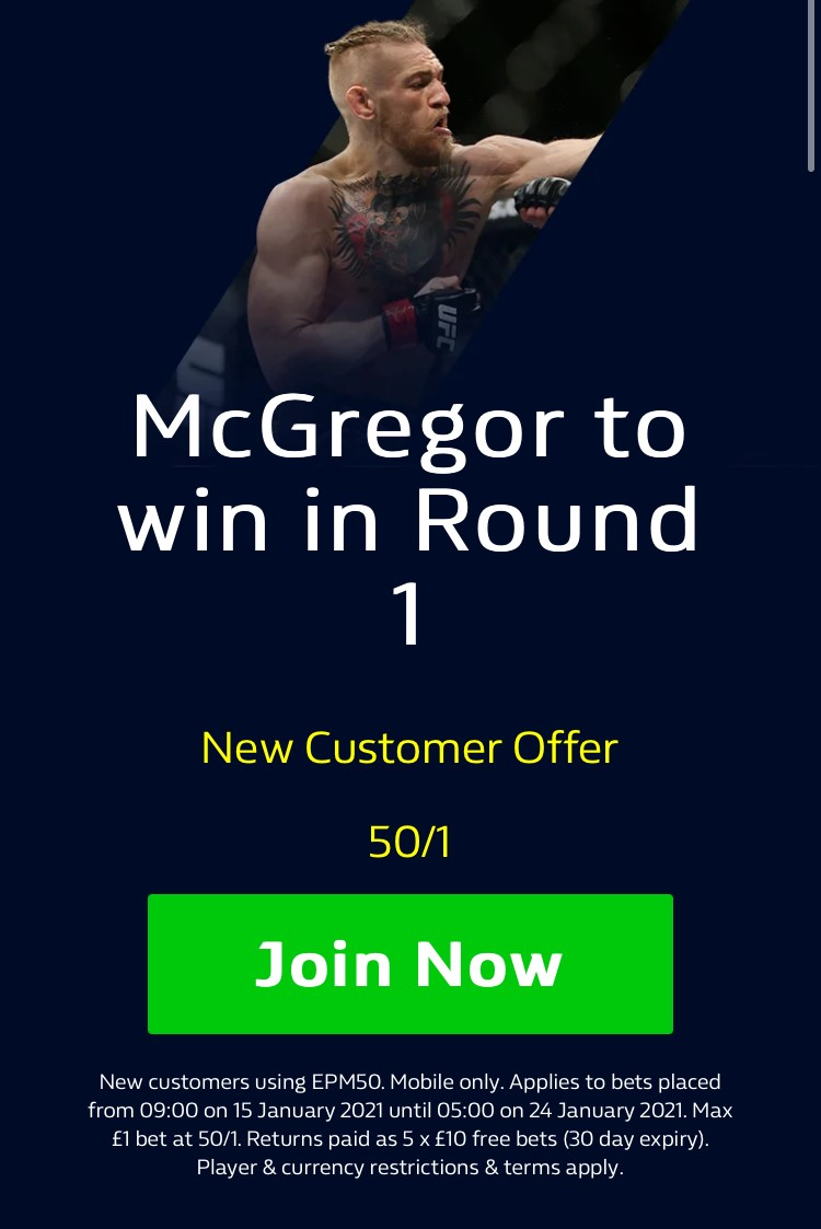 Huge offer for tonight's #UFC257 main event...  WILLIAM HILL HAVE BOOSTED MCGREGOR TO WIN IN ROUND ONE TO 50/1!! 😳😳😳  Join to claim HERE:   #Ad | New Customer Offer | 18+ | T&Cs Apply | Mobile Only  #McGregorPoirier #UFC257