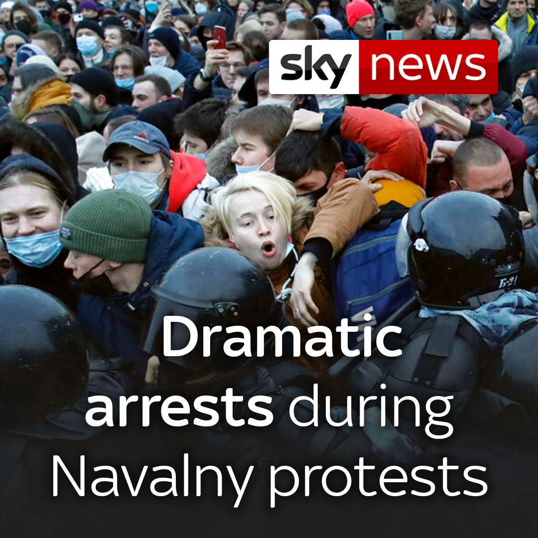 "The UK has condemned the ""harsh tactics"" used against protesters and journalists in Russia - as more than 2,500 people have reportedly been arrested at rallies in support of the jailed Putin critic Alexei Navalny.  Sky's @DiMagnaySky reports.  Read more:"