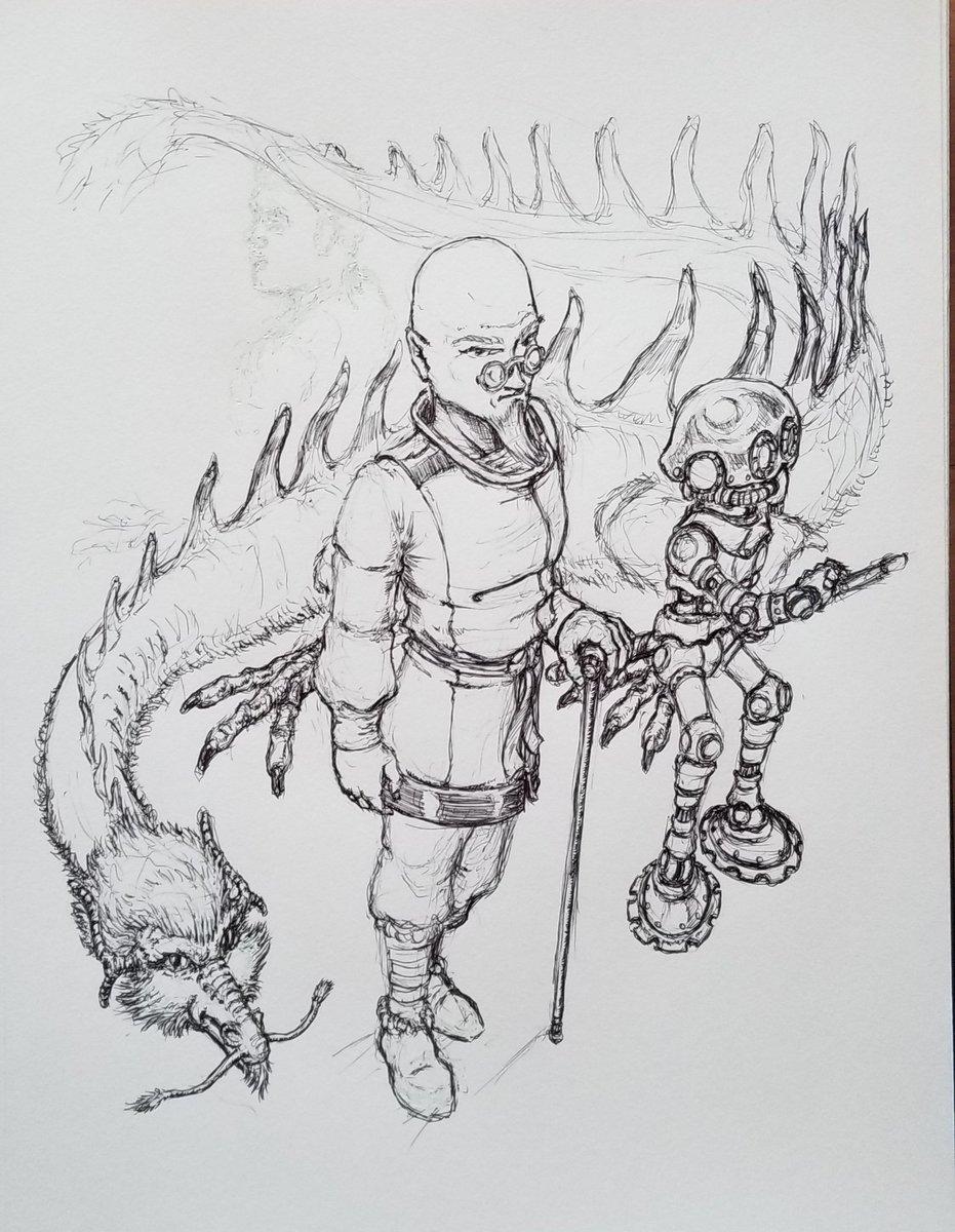 Scene sketching.😁#neonseedstudios #workinprogress #wip #inktober2021 #ballpointpensketch #pen #ink #inking #inktober #pensketch #roughsketch #scene #characterdesign #character #dragon #chinesedragon #kungfu #robot #mecha #glasses #martialarts #monk #ArtistOnTwitter