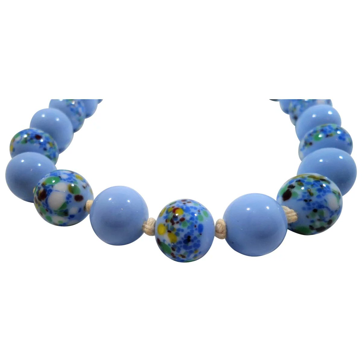 Periwinkle Blue Art Glass Beaded Choker Necklace #rubylane #vintage #jewelry #glass #beads #necklace #giftideas #treatmyself #treatyourself #fashionista #givevintage